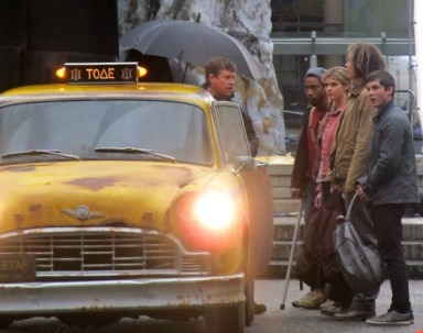 Percy Jackson Sea of Monsters Set The Gray Sisters Taxi Logan Lerman Alexandrea Daddario Douglas Smith Brandon T Jackson