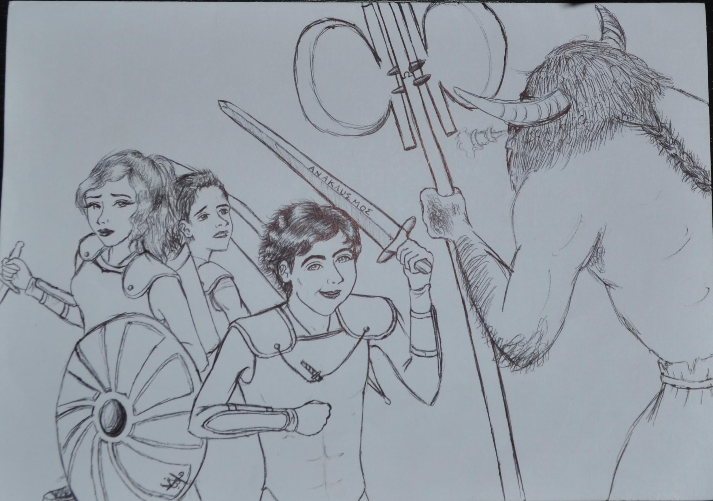 The Mark Of Athena Fan Art Percy Annabeth Michael Yew Fight Minotaur
